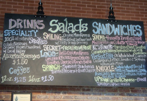 Smiling Jack's serves all kinds of sandwiches, salad, and drinks.
