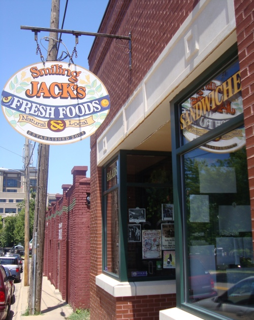 Located next to Dickson Street Bookshop, Smiling Jack's serves natural, organic, and local foods.