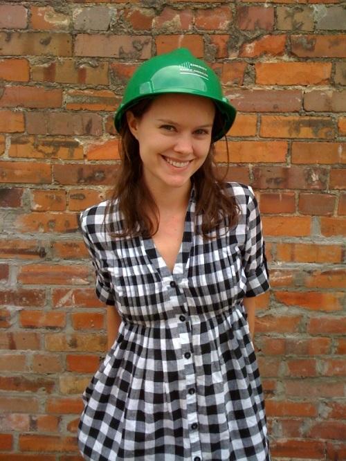 Angela Wisely, Outreach Coordinator, Audubon Arkansas, sporting a Green Jobs Hard Hat.