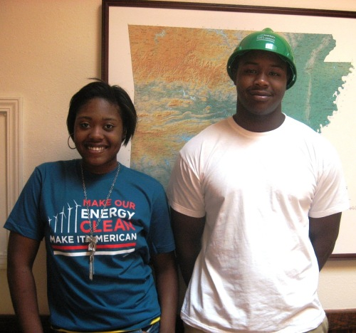 Audubon Arkansas interns sport American Apparel Organic Cotton Clean Energy T-shirt and a Green Jobs Hard Hat.