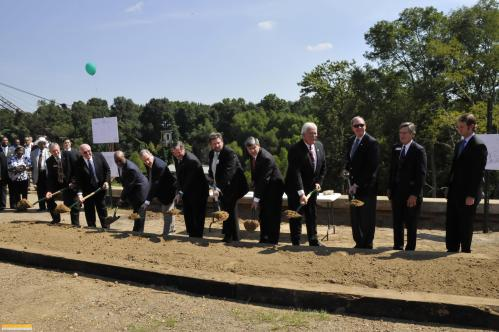Anderson, Pryor, Ross, Claybaker, and other officials break the ground.