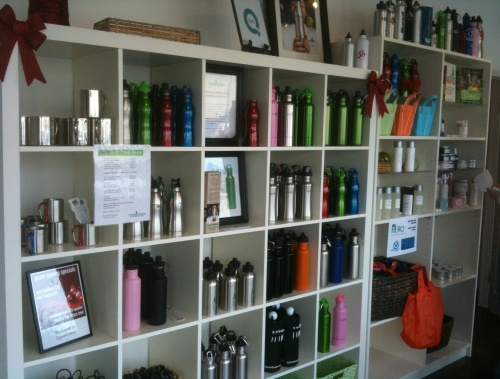 Inside CynerGreen's store. I stocked up on the water bottles and reusable shopping bags.