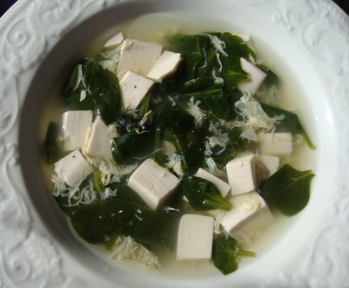 Homemade spinach, egg & tofu soup made with our duck eggs.