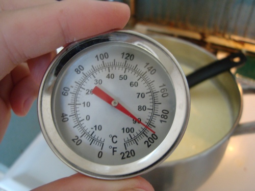 In a large pot, add citric acid solution to 1 gallon milk, mix thoroughly, and heat until 185-195 degrees F.